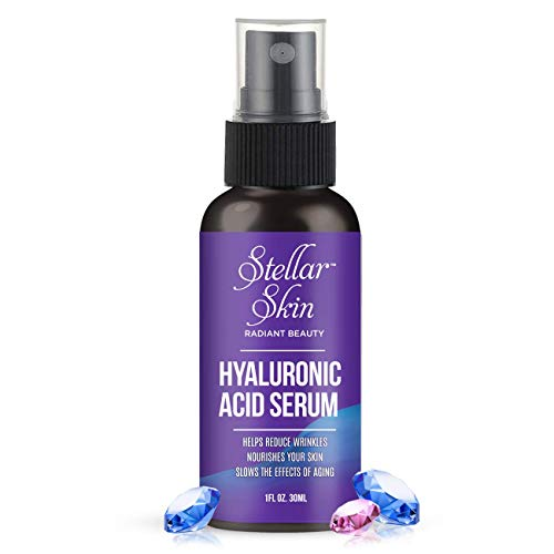 Hyaluronic Acid Serum for Skin from Stellar Skin. Natural Formula. Best Moisturizing Facial Serum for the Anti Aging Anti Wrinkle Battle. Made in the USA