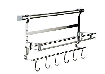 HAGO acciaio INOX 18/10, & utensili da cucina con 6 ganci e mensola portaoggetti Organizer per hamburger MHG-011-Supporto da parete, 42 x 13,5 x 6 cm, appendibile, utilizzabile come portatazze 51.23.5*19cm HANGOO