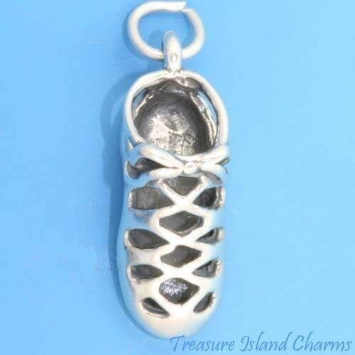 Irish Step Dance Soft Shoe 3D- .925 Sterling Silver Charm Jewelry Making for Bracelet Pendant]()