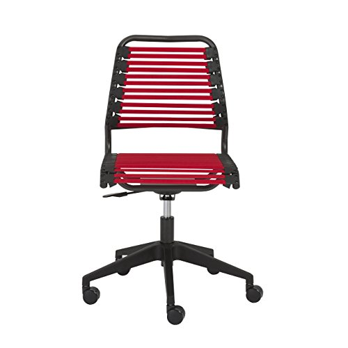 Euro Style RTA Baba Flat Low Back Office Chair, Red/Graphite