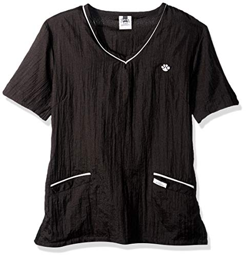 Top Performance  Contrast-Trim V-Neck Grooming Tops - Fashionable and Versatile Tops for Professional Groomers - Small, Black/White