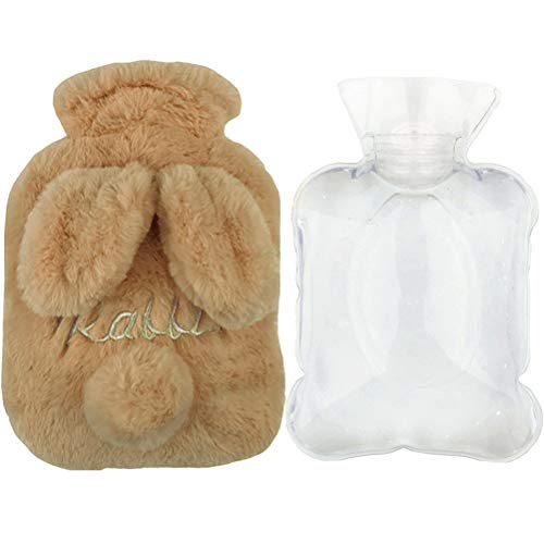 nt Rubber Cute BunnyHot Water Bottle Warm Water Bag with Plush Fleece Cover, Hand Feet Belly Warmer ()