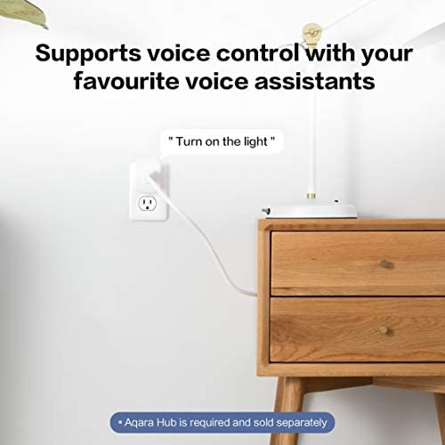 Aqara Smart Plug, REQUIRES AQARA HUB, Zigbee, with Energy Monitoring, Overload Protection, Scheduling and Voice Control capabilities, Works with Alexa, Google Assistant, and Apple HomeKit Compatible