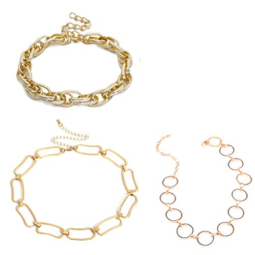 AnVei-Nao Gold Chain Choker Necklace Womens Summer 3 Pack Punk Chunky Silver Chokers (Gold)