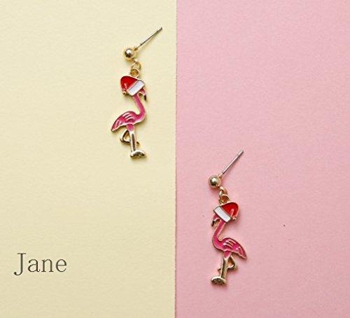 (usongs Retro hand-made Christmas flamingo earrings earrings earrings red Santa Claus)
