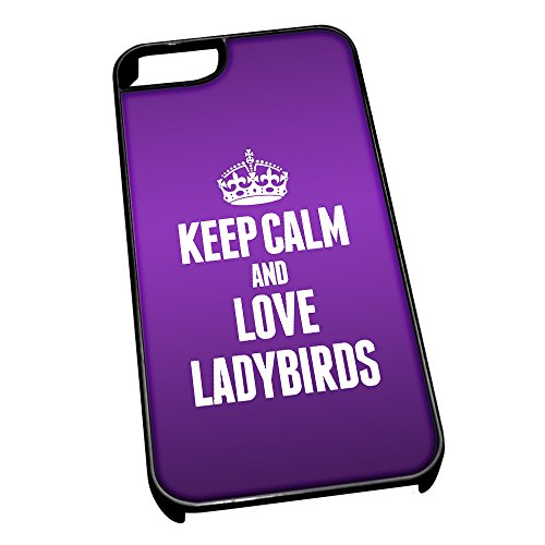 Nero Cover per iPhone 5/5S 2448 viola Keep Calm e Love Coccinella