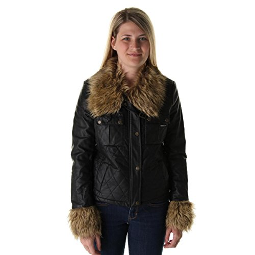 Jacket Trim Fur (Members Only Womens Quilted Faux Fur Trim Jacket Black L)