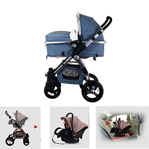 XIDAJIE 3 in 1 Baby Stroller High View Khaki Foldable Baby Trend Stroller Pushchair Bassinet Car Seat,Light Blue