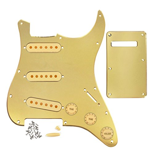 FLEOR Set of Strat Guitar Pickguard SSS Style/Back Plate/48mm 50mm 52mm Pickup Covers/2T1V Control Knob/Switch Tip/Bar Tip,1-Ply Golden Pearl