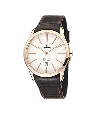 Kronos - Elegance Rose 973.34 -Reloj de caballero de cuarzo - correa de piel marrÓn - color esfera: beige