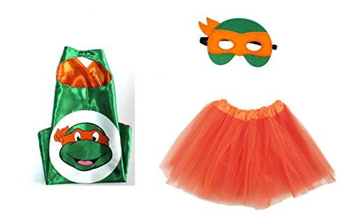 Rush Dance Kids Children's Deluxe Comics Super Hero CAPE & MASK & TUTU Costume (TMNT Michael Angelo (Orange Tutu))