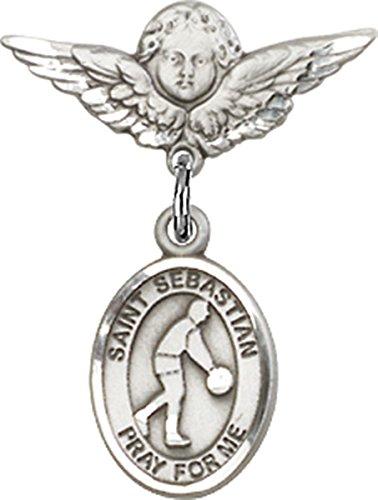 Sterling Silver Baby Badge Cherub Angel Pin with Saint Sebastian Basketball Charm, 3/4 Inch ()