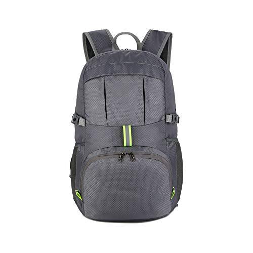 (STKJ Hiking Backpack, Trekking Rucksack Foldaway Packaway Daypack Shoulder Bag Waterproof Large-Capacity Sports Travel Bag,Gray)