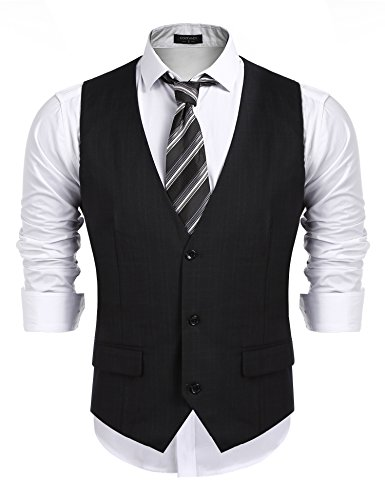 COOFANDY Men's Business Suit Vest,Slim Fit Skinny Wedding Waistcoat, Black, ()