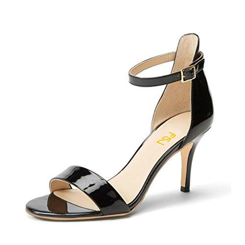 (FSJ Women Comfy Open Toe Summer Sandals Ankle Strap Kitten Mid Heels Shoes Patent Leather Size 12 Black)
