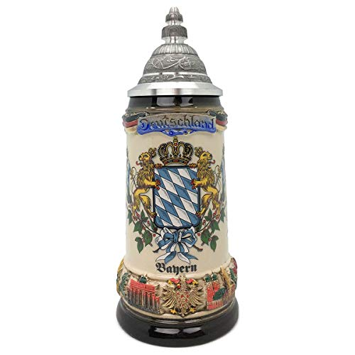 Classic Zoller & Born Bayern Flag .75L Made in Germany German Beer Stein with Lid Engraved Collectible Ceramic Mug
