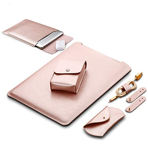 LAPOND 4 in 1 Bundle 13 Inch Laptop Sleeve Case for MacBook Air and MacBook Pro 13.3 Inches (4 in 1 Bundle, Rose Gold/Pink)
