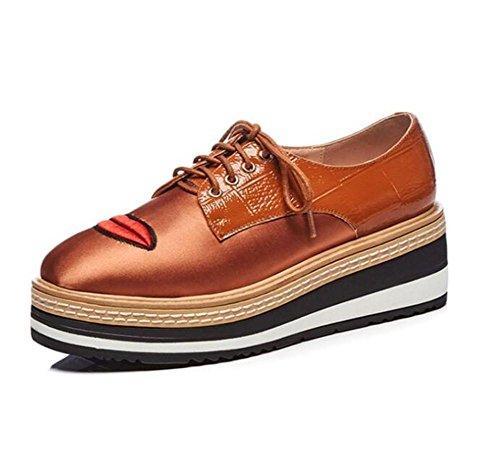 Taglia rosse brown Scarpe Allacciare 36To39 Cuneo Labbra Ricamo donna Pelle piattaforma da satinata qx6ST