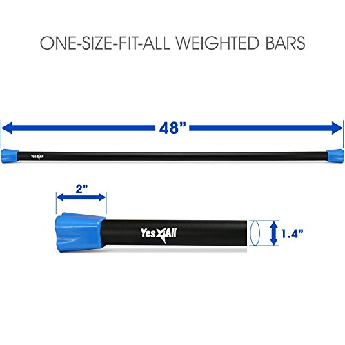 Yes4All Weighted Workout Bar – Weight Available: 5, 8, 10, 12, 15, 20, 25, 30 lbs (Multi Color) – Comfort in Use with Padded Foam Surface
