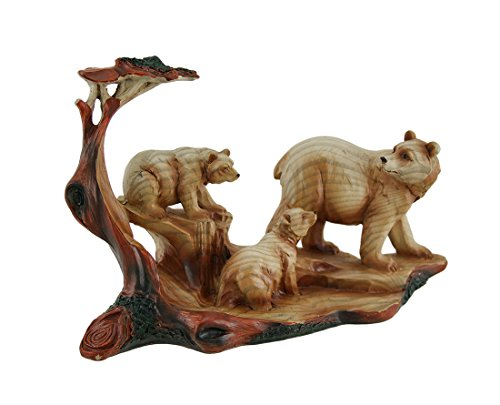 Zeckos Mother Bear and Cubs Carved Wood Look Resin ()