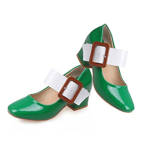 Heel Thin Buckle Plus Women green Middle 37 cut Shoes Size Low Sfadnq