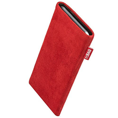 fitBAG Folk Red Custom Tailored Sleeve for Apple iPhone Xr | Made in Germany | Fine Nappa Leather Pouch case Cover with Microfibre Lining for Display Cleaning