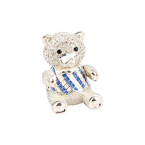 Blue Diamond Enamel Ring Accent (Enamel Trinket Box Bear Shape Rhinestone Jewelry Organizer Home Decor Earring Necklace Storage Box 1pc Blue)