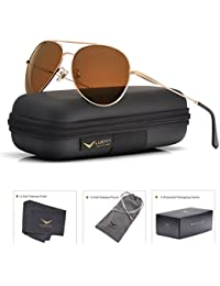 Men Women Aviator Sunglasses Polarized Brown Lens Metal...