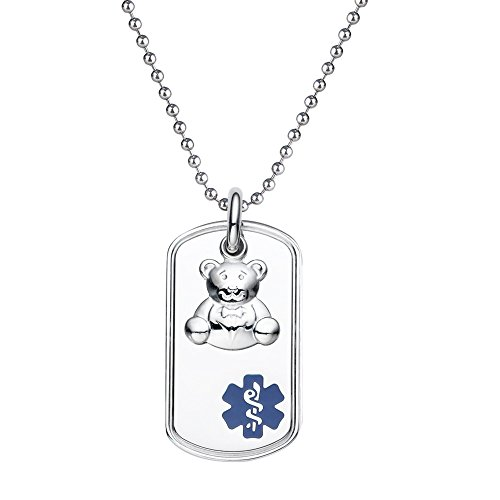 Dog Necklace Photo Charm Tag (Divoti Custom Engraved 316L Teddy Bear Charm Medical Alert Necklace -Dog Tag -24