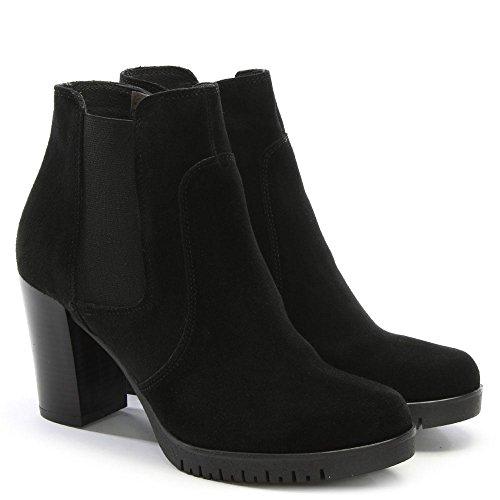 Daniel lagena Black Suede Low Platform Chelsea Boots Black Suede