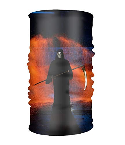Unisex Dark Grim Reaper Artistic Scythe Orange Headwear Bandanas Helmet Liner Head Wrap Scarf One Size Great Gifts For Men Women -