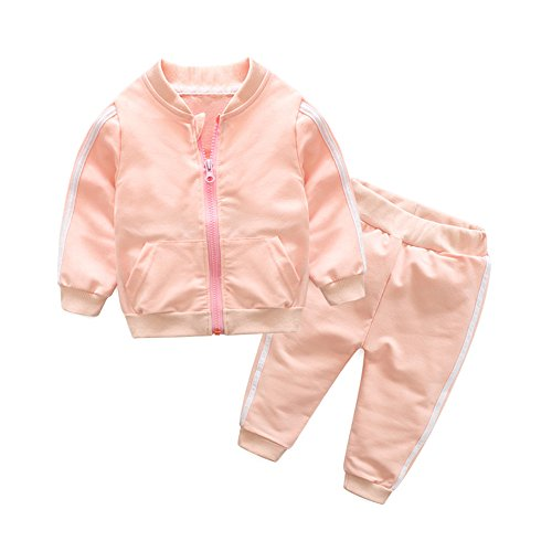 Moyikiss Studio Unisex Tracksuit Baby Boys Girls Clothes Cotton Long Sleeve Zipper Sweatshirt Jacket and Pants (Pink, 100/18-24Months) ()