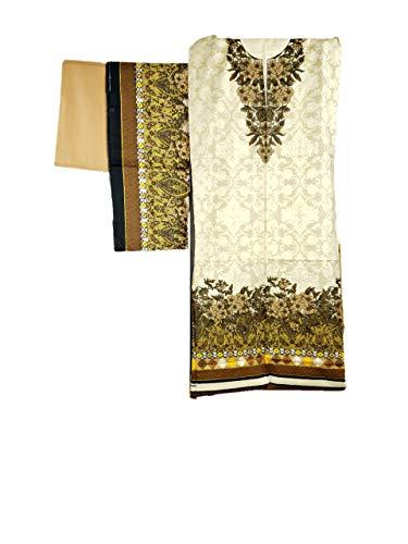 IshDeena Pakistani Dress for Women. Salwar Kameez Suit Ladies - 3 Piece Unstitched Fabric (Cotton, Cream Purple - - White Cotton Salwar Off Kameez