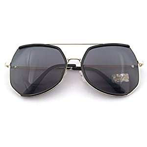 Heartisan Oversized Polygon Frame Color Reflective Lens Vintage Sunglasses C1