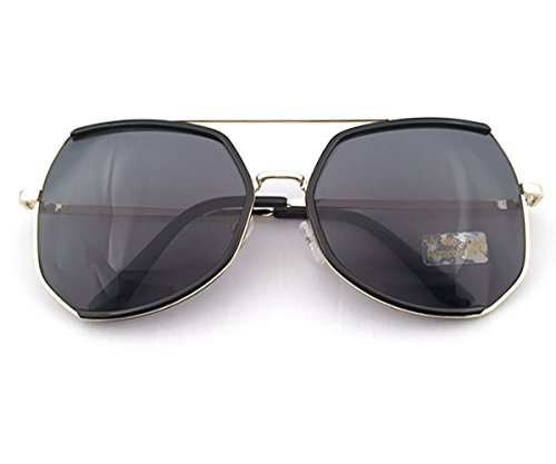 Heartisan Oversized Polygon Frame Color Reflective Lens Vintage Sunglasses - Fashion Havana 1950's