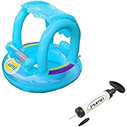 KateDy Baby Swimming Pool Float Seat Boat,Cute Adjustable Inflatable Sunshade UV Protection Swimming Ring Beach Pool Bath Toy With a Hand Inflator Pump,for 6-36 Months Baby Kids Toddler(1pc,Blue)