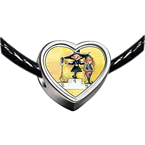 Chicforest Silver Plated Halloween witch broom monster Photo Heart Charm Beads Fits Pandora Charms