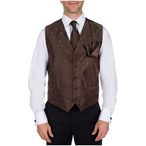 Chocolate Brown Italian Design Formal Vest - Necktie and Pocket Square (Chocolate Brown Italian)