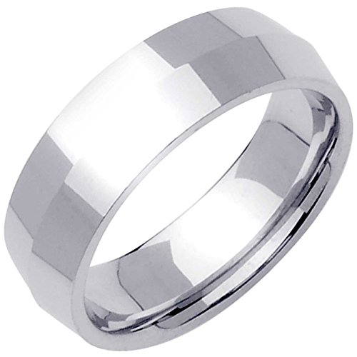 18K White Gold Traditional Knife Edge Men's Comfort Fit Wedding Band (7mm) Size-14.5c1