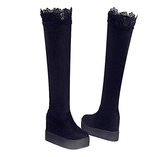 Genou Bottes avec Bottes Mesdames Taille Le Big Bottines Dentelle Creux Chaussures Black Grande Étouffé LIUshoes féminines 7Ozvxq44