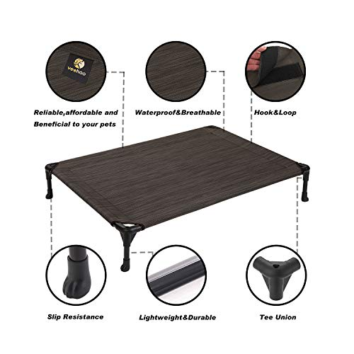 Veehoo Cooling Elevated Dog Bed, Portable Raised Pet Cot with Washable & Breathable Mesh, No-Slip Rubber Feet for Indoor & Outdoor Use, Small, Brown
