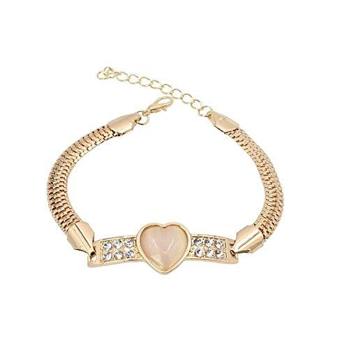 Jewelry 18k Bracelets Crystal Opal Bracelet Heart Stone Bangle Rhinestone ()