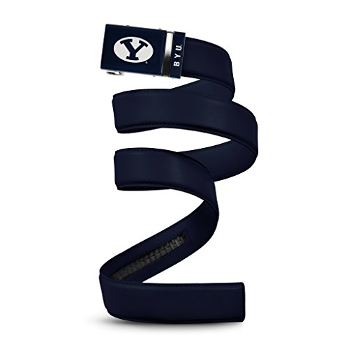 NCAA BYU Cougars Mission Belt, Deep Blue Leather, Large (up to 38) (Cougars College Leather)