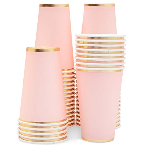 Pink Paper Cups - 50-Pack 12oz Disposable Cups, Light Pink with Gold Foil Rim, Baby Shower, Birthday Decorations, Bridal Shower Party Supplies,12 Ounce Capacity]()