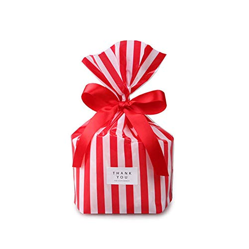 YESON Red Stripe Clear Cello Bags Candy Plastic Party Favor cellophane Treat Bags,Pack of -