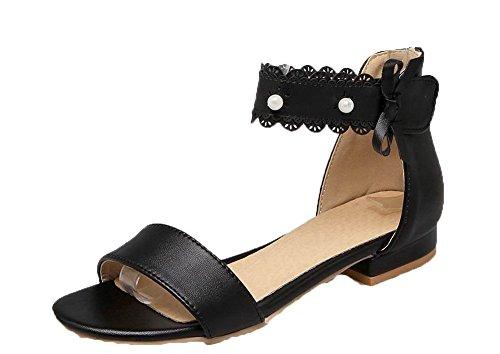 Bas Cuir GMBLB014038 Sandales Noir AgooLar Velcro à PU Unie Femme Talon Couleur 8RqfvE