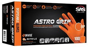 SAS Safety Astro-Grip 66574 Powder-Free Nitrile Orange High Visibility Glove, X-Large (Case of 10)