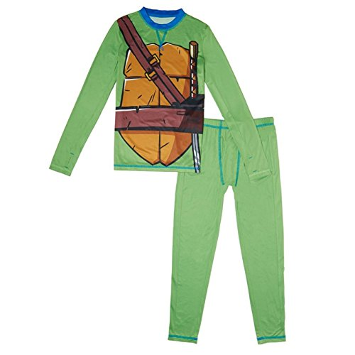 Climate Smart Baselayer Comfortech Poly 2 Piece Long Sleeve Crew & Pant (Large, TMNT) (Ninja Turtle Long Underwear)
