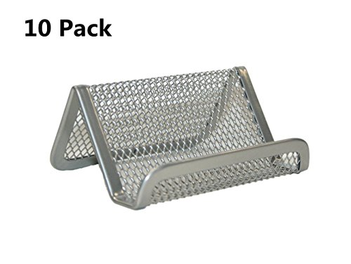 Collection Card Business - Md trade Pack of 10 Mesh Collection Business Card Holder,Silver