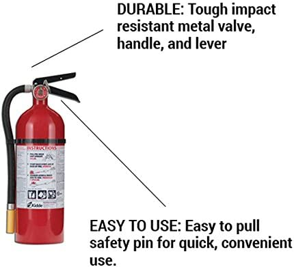 Kidde 466425 Multi-Purpose Fire Control Fire Extinguisher, UL rated 3-A, 40-B C, Easy to Read Gauge, Easy to Pull Safety Pin